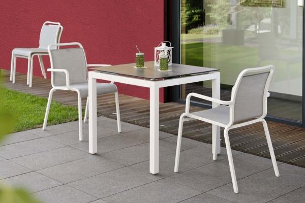 Tisch 90 Aluminium, Gestell weiß