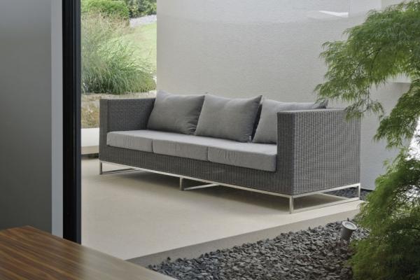 Lounge Sofa 3 Sitzer In Natürlicher Rattan Optik Woodsteel