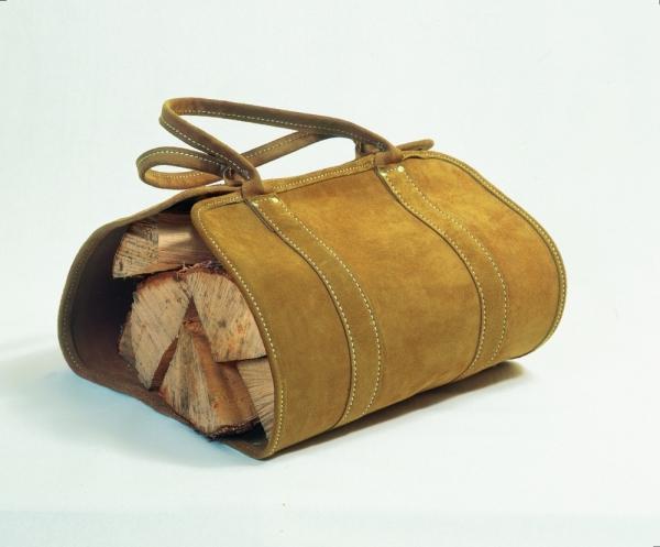 Holztrage aus Leder