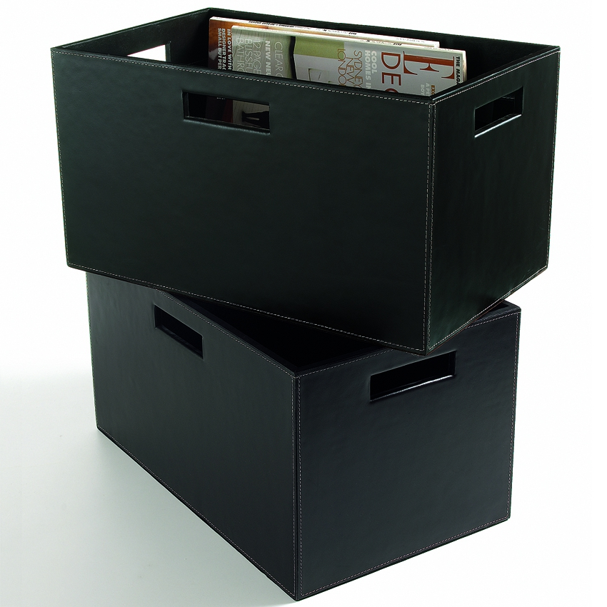 zeitschriftenbox aus schwarzem rindsleder woodsteel. Black Bedroom Furniture Sets. Home Design Ideas