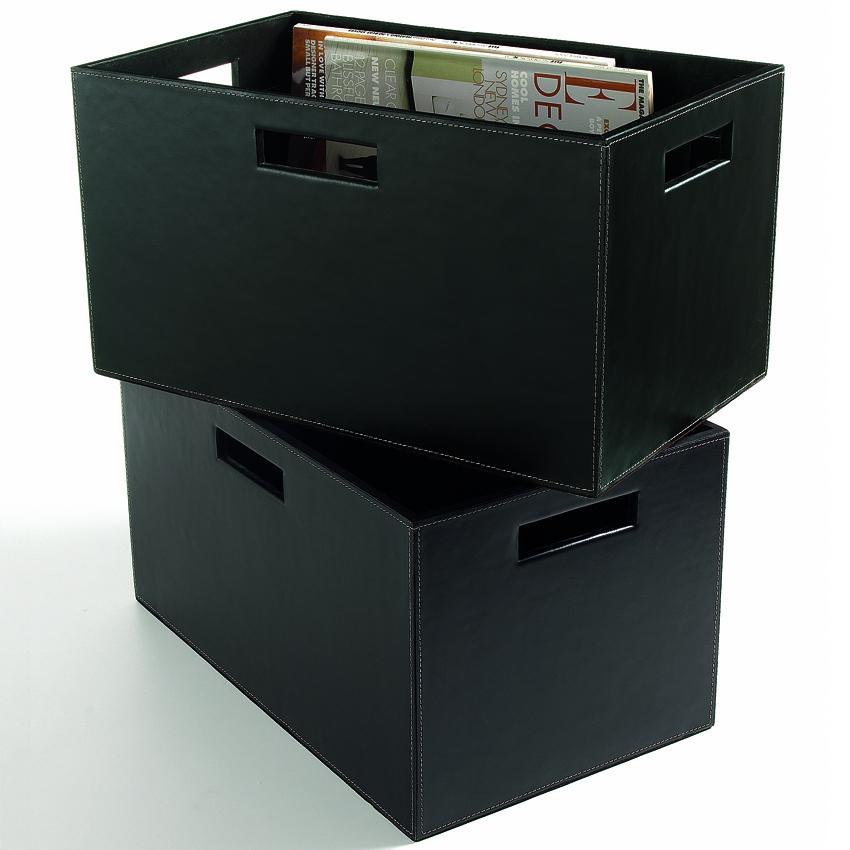 zeitschriftenbox aus schwarzem rindsleder woodsteel sch ne dinge f r haus und garten. Black Bedroom Furniture Sets. Home Design Ideas