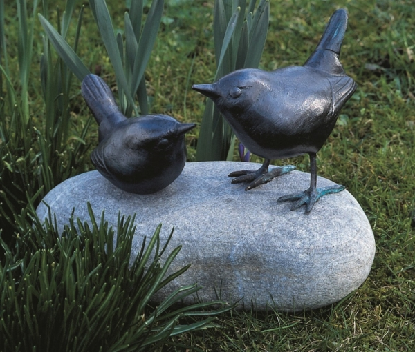 Zaunkönigpaar - Kupfer-Skulptur
