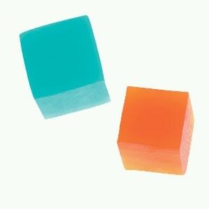 Transparente Seife Orange und Türkis