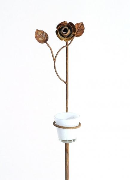 Pflanzstützen und Teelichthalter mit Rose