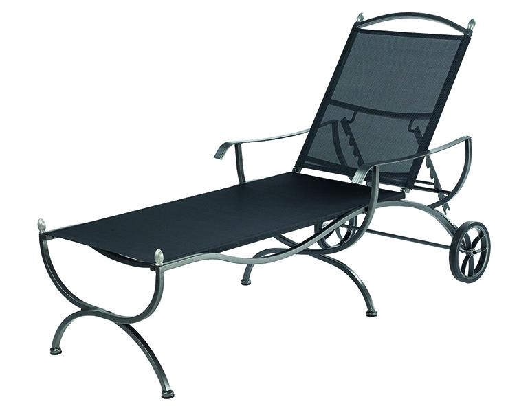 geschmiedete gartenliege mit nylon textilgewebe woodsteel sch ne dinge f r haus und garten. Black Bedroom Furniture Sets. Home Design Ideas