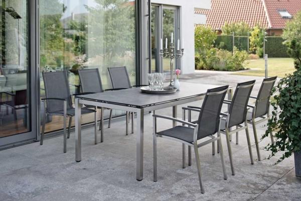 Tisch 200 Edelstahl und HPL-Tischplatte, Nitro