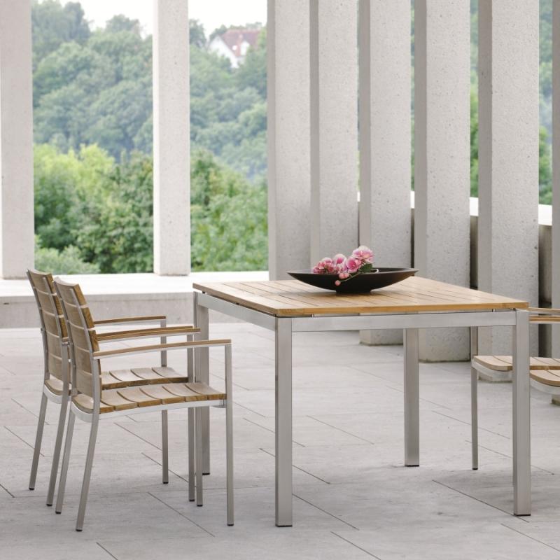 tisch 160 aus teak und edelstahl woodsteel sch ne dinge f r haus und garten. Black Bedroom Furniture Sets. Home Design Ideas