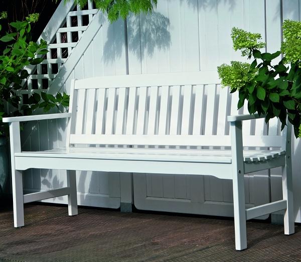 gartenbank 3 sitzer wei lackiert robinienholz. Black Bedroom Furniture Sets. Home Design Ideas